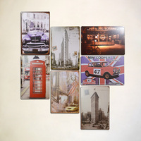 Hh 20*30cm metal painting scrub car pattern at home decoration mural wall decoration