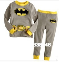 2013 New Cotton Batman Character Unisex Kids Boys Girls Baby's Thicken Pajamas Children Clothing 2 pcs Set Cute Outfit Costume