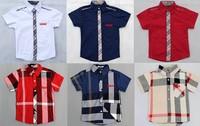 kids summer plaid shirts children british style brand shirts short sleeve 5pcs/lot suits 2-7yrs for boys girls free shipping