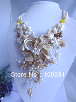 new wedding jewelry beautiful shell wrap flower necklace for women