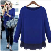 2013 fashion plus size loose chiffon patchwork faux two piece medium-long knitted long-sleeve basic shirt female