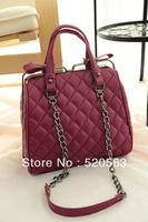 2014 new fashion high quality plaid bag personality zipper clip vintage bag women shoulder bag