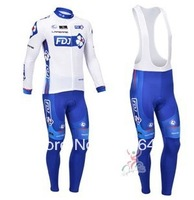 free shipping!2013 FDJ white team long sleeve cycling jersey and bib pants Kit,biking clothes,bicycle wear,bike jersey