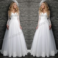 White Organza and Lace A Line Sweetheart Wedding Dress Long Sleeve Free Shipping 2014