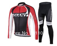 2014 Giant Team Black&Red Cycling Jersey Long Sleeve And Pants Bike Shirt/ Bicycle Jacket Ciclismo Clothing Men