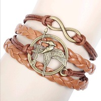 Free Shipping 2014 New Arrival Fashion Handmade Hawk Bird Woven DIY Leather Infinity Charms Bracelets Bangles Women Ladies Brown