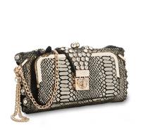 Free shipping 2013 fashion rhinestone day clutch bag women's genuine leather handbags serpentine pattern women wallet