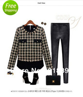 Free Shipping cashmere Hoodies sweaters 2013 women fashion O-neck Plaid pattern thick winter Pullovers Large sizes s-xxl