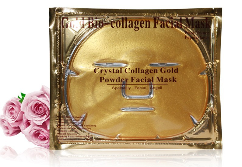 OEM Gold Collagen facial mask Nano Technology Crystal Mask skin care whitening moisturizing collagen face mask English package(China (Mainland))
