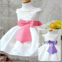 Girl's dress 100% cotton short sleeve bowknot belt dress childrens clothing  Crystal princess dress Girl's one piece dress