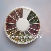 OD-54 Free Shipping 3D 2mm+3mm 6 colors Stud Metal Decoration  in wheel Shiny Nail Decoration Lovely Outlooking