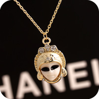 24pcs/lot Wholesale Free Shipping fashion Cute Egypt Doll Mysterious Style NecklaceEgypt Queen Face Baby Mask Pendant Necklace