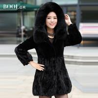 High quality 2014 new fashion women's genuine mink fur coat for winter rabbit fur patchwork fox fur hooded black long clothing 3