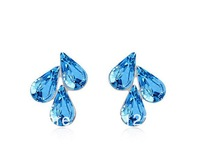 Free Shipping Fashion Shining Color Austria Crystal Platium Plating Stud Earring Jewelry 5 Colors (50$-4$)