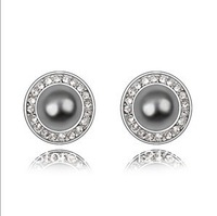 Free Shipping Fashion Austria Black/Coffee/White Imitated Pearl Platium Plating Stud Earring Jewelry Black/Coffee/White (50$-4$)