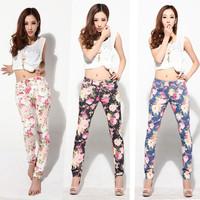 Free shipping 2013 women vintage Slim floral cotton jeans casual flower print hot skinny straight denim pencil pants XS- XXL