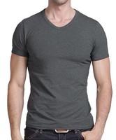 Fashion Grey Slim Fit Cotton Stylish V-Neck Short Sleeve Man Men's T Shirt Tops. Free Shipping + Wholesale!