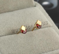 Free shipping!!!Brass Stud Earring,Exaggerated, 18K gold plated, with cubic zirconia, nickel, lead & cadmium free, 6mm