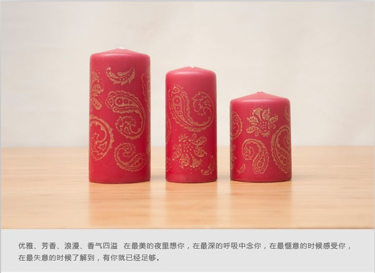 Zens natural stone wax red eco-friendly Wine romantic candle 3 gift box set(China (Mainland))