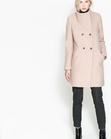 2013 new winter solid color turn-down collar double breasted Women wool coat long Style Europe Wholesale NAVY BEIGE 2236