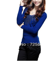 2013 autumn and winter women new arrival sweaer V-neck pullover strong beading basic sweater comfortable cotton high quality