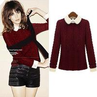 Free Shipping autumn winter beading vestidos beading plus xxxxl wool casual dress big size women clothes DM132088