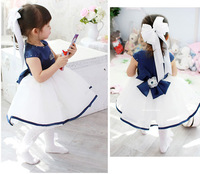 Free Shipping,Baby Girl Summer Dress,Baby Girls Summer Wear Royal Blue Crown Short-sleeved Princess Tutu Dress 1-6Y