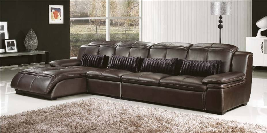 Luxury Moderately thick Top Grain Genuine Leahter, 3.6M Length L Shaped Sofa Set, Duration and Fashion leather furniture E312(China (Mainland))
