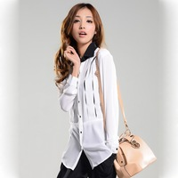 New Style Women's Blouses Chiffon Long Sleeve Solid Formal Shirts