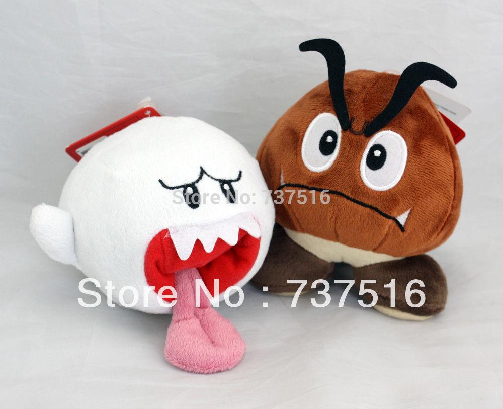 Super Mario Bros Boo Ghost & Goomba Soft Stuffed Plush Toy Figure 2pcs Doll Set(China (Mainland))
