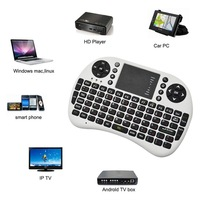 Black/white Russian Mini Keyboard 2.4GHz Mini PC Wireless QWERTY Keyboard Mouse Touchpad Remote Game Controller Free Shipping