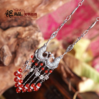 Vintage chinese style silver jewelry natural red agate tassel long necklace double necklace