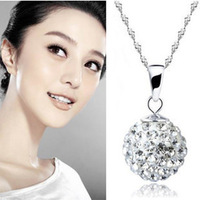 Crystal ball silver necklace accessories 925 pure silver necklace female short design silver gift