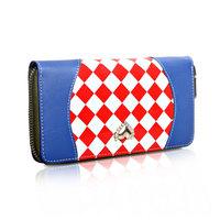 Free shipping new 2013 women genuine leather handbag fashion plaid womens wallet cowhide day clutch bag purse