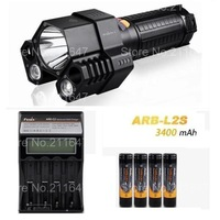 free shipping (Fenix TK76 Torch Rescue Search Flashlight+ARB-L2S 3400 mah 18650 li Battery 4 Pcs +ARE-C2 Charger)