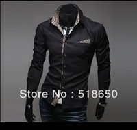 Men top fashion animals leopard grain cultivate one's morality for inner cloth long sleeve shirts