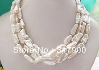 "65"" 20mm white stick KESHI REBORN PEARL NECKLACE"