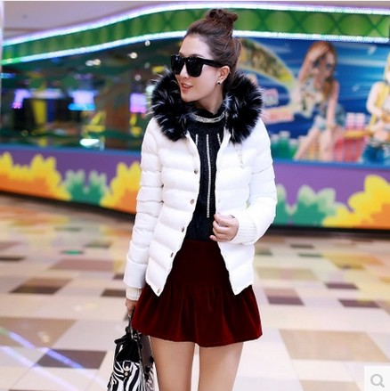 2013 winter short design down cotton female candy color with a hood thermal outerwear fur collar short design winter clothes(China (Mainland))