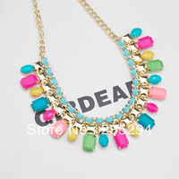 Luxury Brand Jewelry Hot Sale Western Style  Choker Collar Multi-layer Resin Necklace Fashion Colorful Necklace for Female