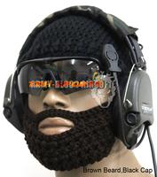 Tactical Beard Owners Club Beard Cap Hand Knit Beard Cap,Black Cap,Optional Beard+Free shipping(SKU12050201)