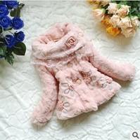 Retail 1 Pc 2014 Girls Faux Fur Coat Children Spring Winter Warm Outerwear Girls Lace Flower Kids Jackets&Coats  CCC235