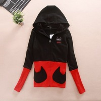 2013 color block decoration thread shut up owl pocket outerwear with a hood sweatshirt