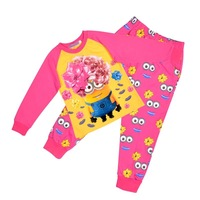 2014 2 minions Despicable me children winter girsl long sleeve blue shirt top and pants pyjamas pajamas PJS sleepwear 12pcs/lot