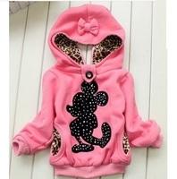 Retail 1Pc Children Spring Autumn Outerwear Baby Girls Cartoon Lace Leopard Reversible Cotton Kids Jackets Coat  Hoody CCC243