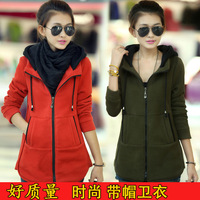 Women's wear autumn and winter student women's medium-long hooded cardigan thermal thickening sweatshirt female outerwear fleece