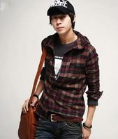 FREE SHIPPING men casual long-sleeve hooded shirt xl xxl 18