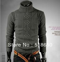 Cultivate one's morality fashion twist pure color turtleneck sweater men sweater