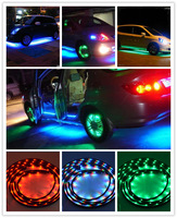 "7 COLOR 15 MODES 2x48""&2x36"" UNDER CAR LED GLOW NEON LIGHT UNDERBODY STRIP KIT DECORATION LAMP WITH REMOTE CONTROL HOT SALE"