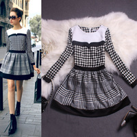 free shippin! Houndstooth dress 2014 new arrivals women winter one-piece dress,Long sleeve skirt of cultivate one's morality