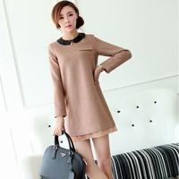 winter dress/ 2014 woolen one-piece dress/ peter pan collar basic  long-sleeve shirt/